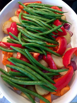 Veggies ready to roast in the oven.