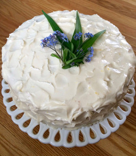 Spring Lemon and Cream Cheese Frosted Birthday Cake