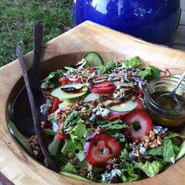 Summer Salad: Fresh Greens, Sliced Strawberries, Cucumber, Goat Cheese, Walnuts, Sunflower Seeds with Basil Pesto-Balsamic Vinaigrette