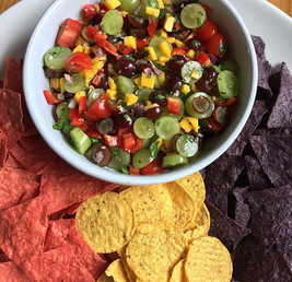 Grape Salsa and tri-colour tortilla chips
