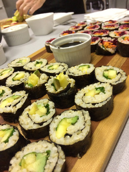 Maki Rolls x 2: Avocado, Mango and Mint.  Pickled Beets, Fresh Grated Carrots and Fresh Basil