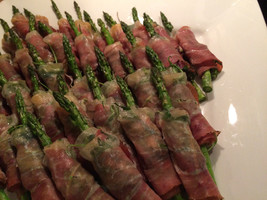 Warm Asparagus, Arugula and Shaved Parmesan Wrapped Prosciutto