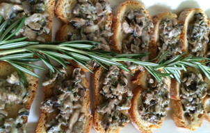 Crostinis with Cremini Mushroom, Vermouth and Asiago Cheese