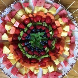 Mandala of Fresh Fruit Kebabs
