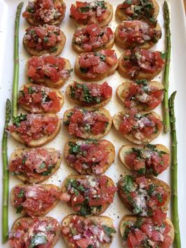 Tomato, Basil and Fresh Parmesan Bruschetta!