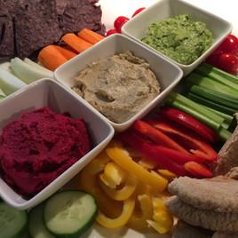 Veggies, Pita Bread, Tortilla Chips and Assorted Vegan Dips