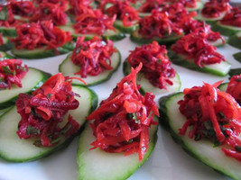 Beet, Carrot and Mint Slaw on Cucumber Slices