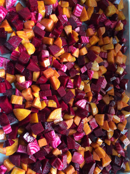 Diced Autumn Vegetables ready to roast in the oven.