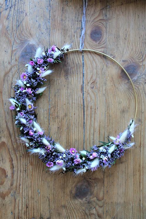 Trockenblumenkranz violett, creme