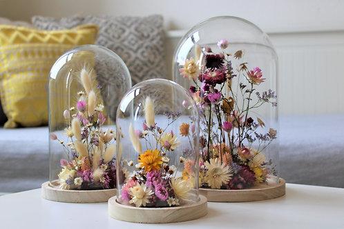 Glasglocke mit Trockenblumen 3er Set