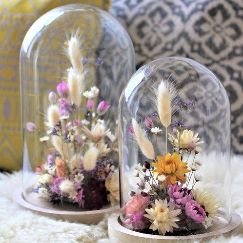 Glasglocke mit Trockenblumen 2er Set