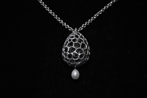 Enpty Egg with Face ; Sterling Silver Pendant