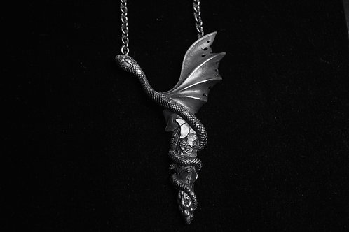 Snake with wings; Sterling Silver Pendant