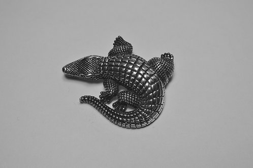 Alligator; Sterling Silver Broach