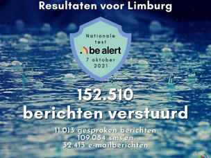 Limburgse resultaten nationale test BE-Alert