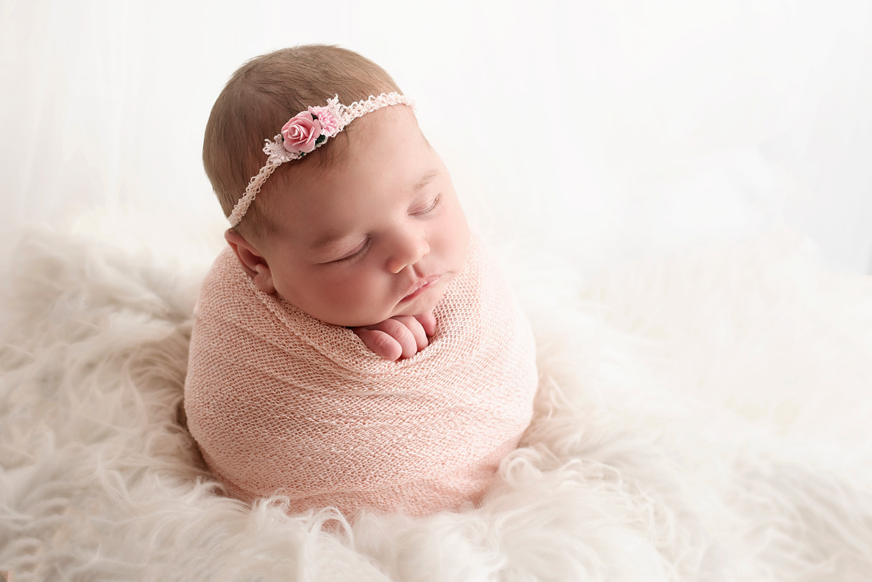 potatosack pose, newborn baby girl photos
