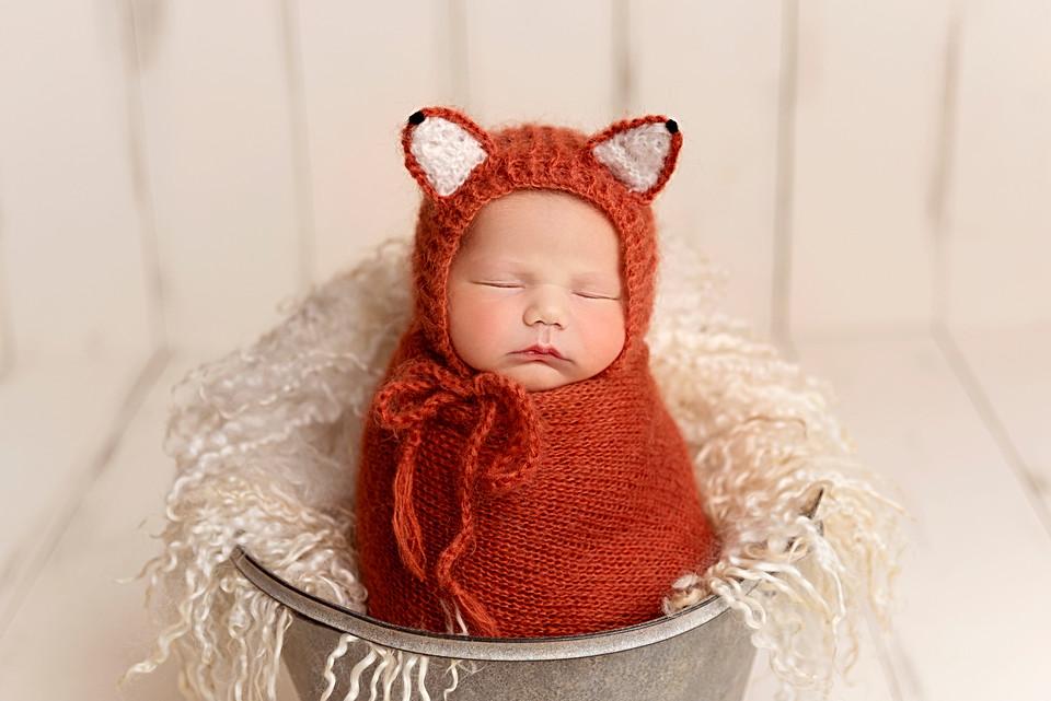 Newborn dressed as a fox, Wirral studio