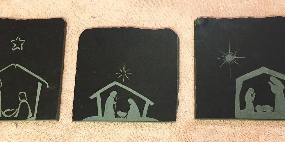 "Stone Etching - Nativity 6"" tile 27JUL"