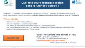 Conférence européenne :  Quel rôle pour l'économie sociale dans le futur de l'Europe ?