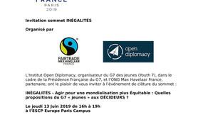 Invitation SOMMET INEGALITES  ce 13 Juin à Paris