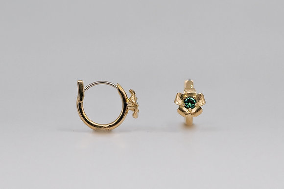 Pua Hoops with Emeralds 18k