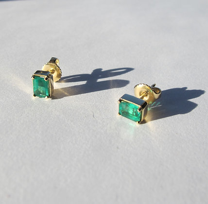 Emerald Studs in 18k
