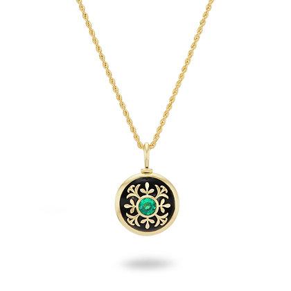 Blooming Puakenikeni Emerald & Onyx Necklace 18k
