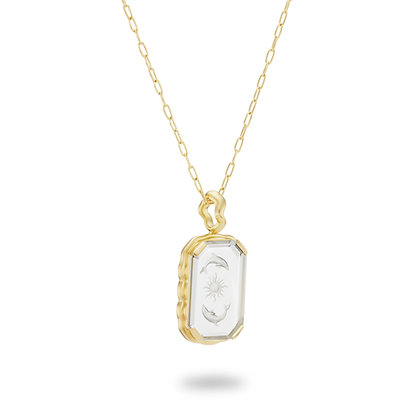Sun Chasers Necklace in Carved Quartz and 18k