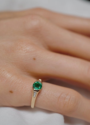 Lily Emerald and Diamond Pinky Ring Ring in 18k