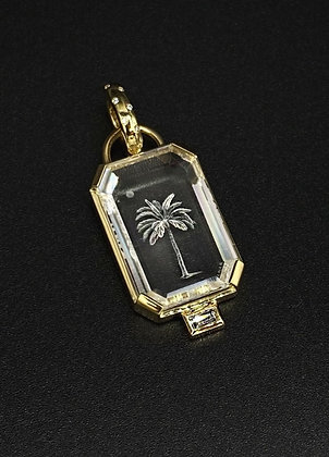 Carved Quartz Palm Pendant in 18k