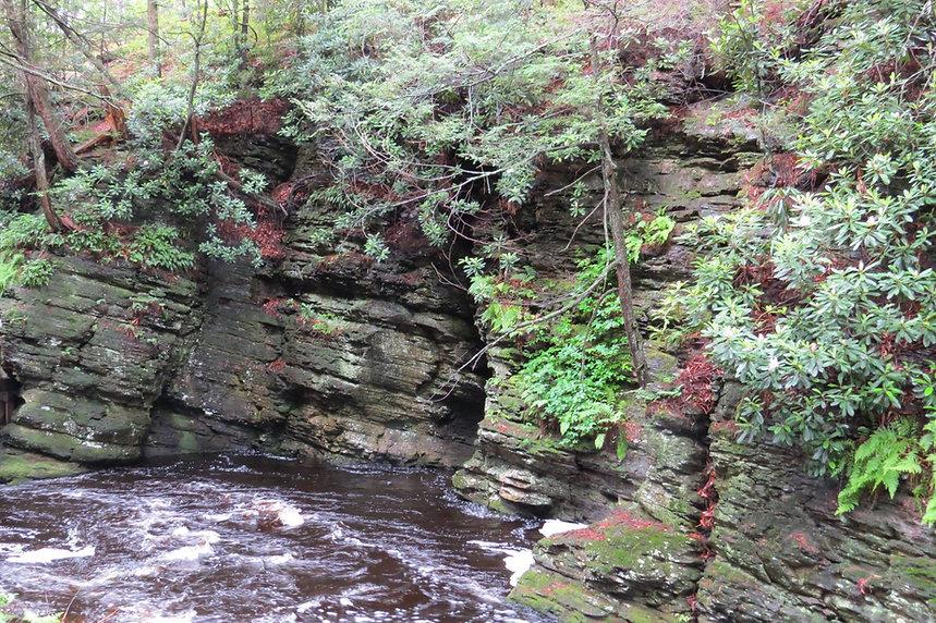 Photograph of Bushkill Falls PA, Photograph of shale rock, Photograph of rock wall, photo of stone wall, photo of river, photo of water, photograph by Jodi DiLiberto