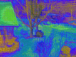 Digital abstract landscape, abstract winter night, image of winter night, digital art in blue and green, image of blue and green landscape, digital art by Jodi DiLiberto