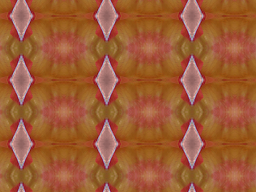 image of dusty pink sunrise colored diamonds with electric orange and green background, digital image by Jodi DiLiberto
