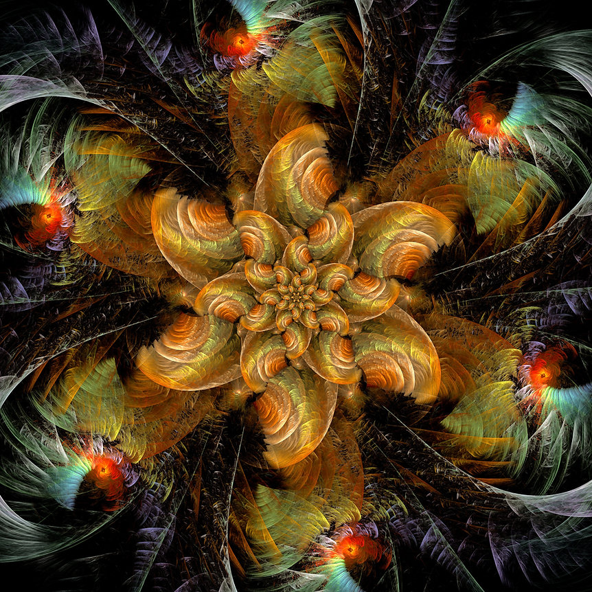 Fractal image of an orange and green flower with many interlacing petals nestling on a bed of shimmering multi colored foliage. Fractal Art by Jodi DiLiberto