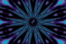 Digital image of a starburst in aqua and purple with a central barred spiral galaxy, digital image by Jodi DiLiberto