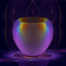 Fractal still life of a purple,iridescent vase on a purple glass table. Fractal Art by Jodi DiLiberto