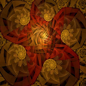 fractal image of golden spirals and an abstract sea star in reddish orange. Fractal art by Jodi DiLiberto