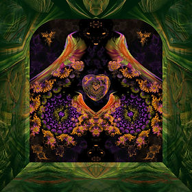 A fractal image in which four rainbow colored birds are enjoying a romantic night in the garden among the purple, green, and yellow flowers and a central heart with an  asymmetrical design.