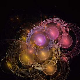 Fractal art with spirals and spheres in pink, lavender, and gold by Jodi DiLiberto