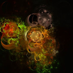An abstract fractal of swirling orbs in chaotic and colorful orange gold and purple. Fractal Art by Jodi DiLiberto