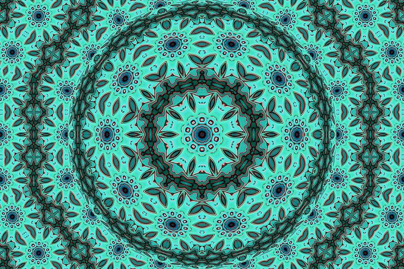 image of a floral mandala, image with concentric circles, image with foliage, image with flowers, digital art by Jodi DiLiberto
