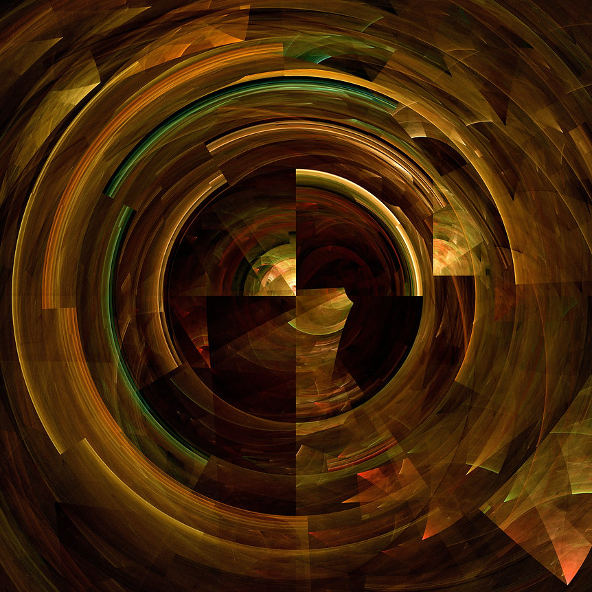 Fractal image of a broken disc in shades of gold, brown, green, and orange. Fractal Art by Jodi DiLiberto