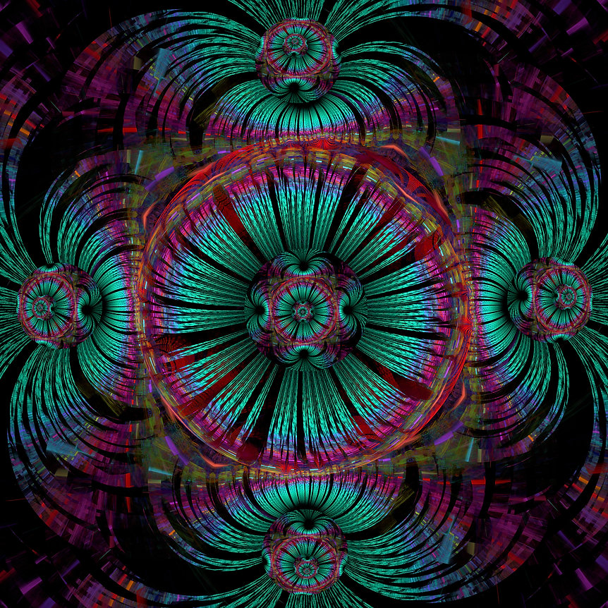 A teal and pink fractal image of orbs within orbs. Fractal Art by Jodi DiLiberto