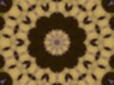 Digital image in dark olive and pale yellow of abstract string instruments encircling a central lotus. Digital image by Jodi DiLiberto
