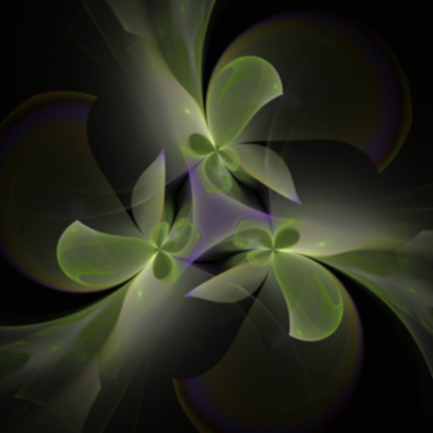 Green and violet, abstract fractal image of faeries with twirling gowns and graceful wings. Fractal Art by Jodi DiLiberto