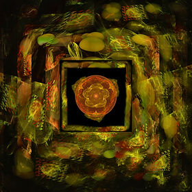 Fractal image of a flaring orange and yellow orb surrounded by an elaborately patterned green yellow and orange frame. Fractal Art by Jodi DiLiberto.