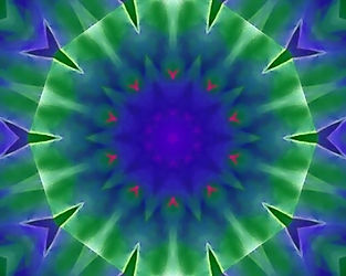 Digital image of an abstract water lily in brilliant blue and green. Digital image by Jodi DiLiberto