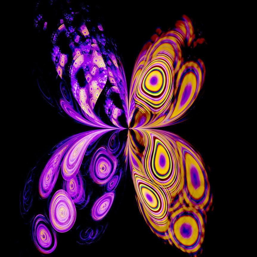 A fractal image of an abstract butterfly with colorful wings in shades of purple yellow pink and green. Fractal Art by Jodi DiLiberto