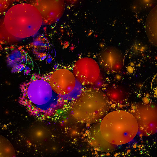 A Fractal image of many colorful orbs by Jodi DiLiberto