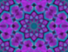 Digital Mandala of vibrant turquoise and fuschia hearts encircling a central starburst,ditigal art by Jodi DiLiberto